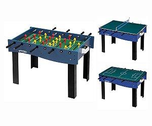 Mesa Multi Jogos 3 x 1 Pebolim, Ping Pong e Futebol de Botão Klopf 1058 Galera