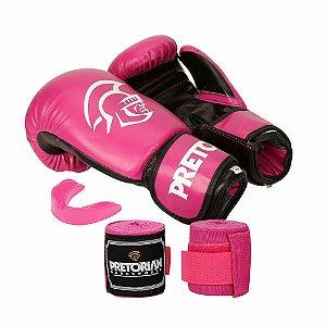Kit Boxe / Muay Thai Pretorian First Luva 12 OZ Rosa e Preta + Bandagem + Protetor Bucal
