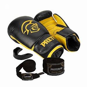 Kit Boxe / Muay Thai Pretorian First Luva 14 OZ Preta e Amarela + Bandagem + Protetor Bucal