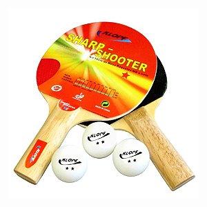 Kit de Tênis de Mesa / Ping Pong - 02 Raquetes + 03 Bolinhas Klopf 5052