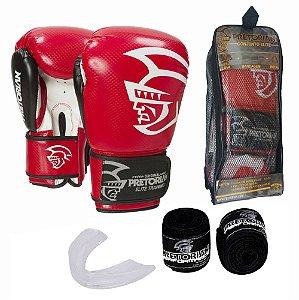 Kit Boxe Muay Thai Pretorian Elite Luva 12 OZ Vermelha e Preta + Bandagem + Protetor Bucal