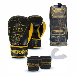 Kit Boxe Muay Thai Pretorian Core Luva 14 OZ Preta e Amarela + Bandagem + Protetor Bucal