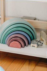 Arco Pequeno - Opção 03 Verde maior e rosado menor PINTURA TRANSLÚCIDA