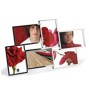 Porta Retrato Flo Para 6 Fotos Umbra 10x15cm - Cromado