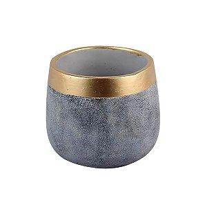 Cachepot em Cimento - Gold Colar Grande