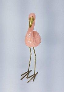 Decoração em Cerâmica - Flamingo Rosa com Pernas