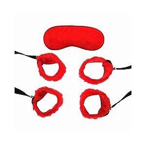 Kit - Bondage Pelúcia - Vermelho - Coleção Sado