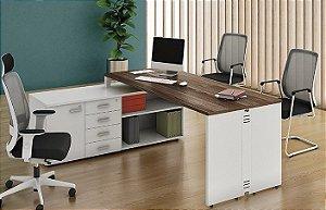 Mesa Diretor Atualle com armário lateral