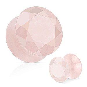 Plug Facetado Pedra Quartzo Rosa
