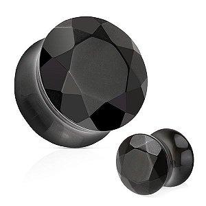 Plug Facetado Pedra Ágata Negra