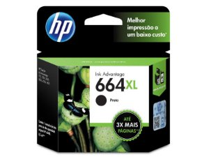 664XL - Cartucho Original HP Preto F6V31AB