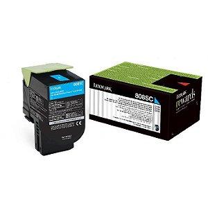 Original 80C8SC0 Toner Lexmark Ciano 808SC Autonomia 2.000Páginas
