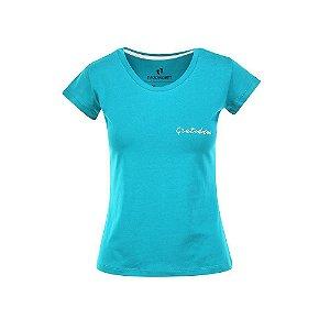 Camiseta Feminina Gratidão Turquesa