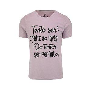 Camiseta Masculina Tente Ser Feliz Lilás