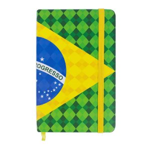 Caderninho de anotações tipo Moleskine bandeira - Brasil