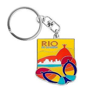 Chaveiro de metal chinelo - Rio de Janeiro