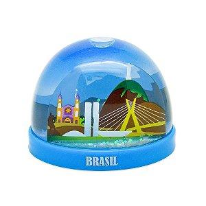 Globo de neve plástico azul - Brasil