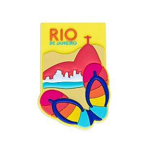 Imã de geladeira emborrachado chinelo - Rio de Janeiro