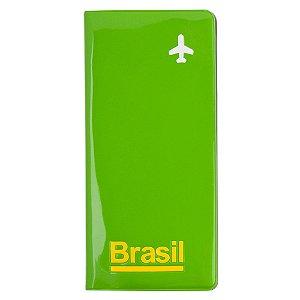 Porta-passaporte e voucher / verde - Brasil