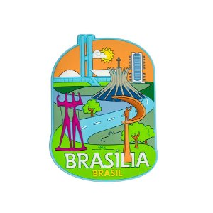Imã de geladeira Mon cinza - Brasília
