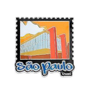 Imã de geladeira metal selo amarelo - São Paulo