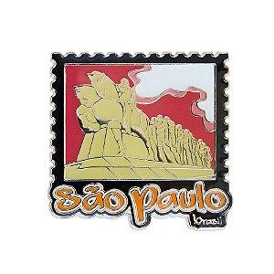 Imã de geladeira metal selo vermelho - São Paulo