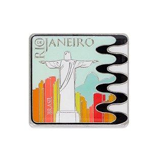 Imã de geladeira de metal cristo color - Rio de Janeiro