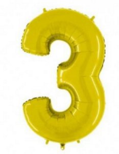 Balão Número 3 Metalizado Dourado - 40cm x 30cm