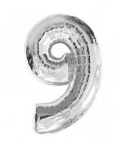 Balão Número 9 Metalizado Prata - 40cm x 30cm