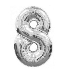 Balão Número 8 Metalizado Prata - 40cm x 30cm