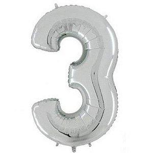 Balão Número 3 Metalizado Prata - 40cm x 30cm