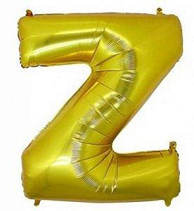 Balão Letra Z Metalizado Dourado - 30cm x 40cm