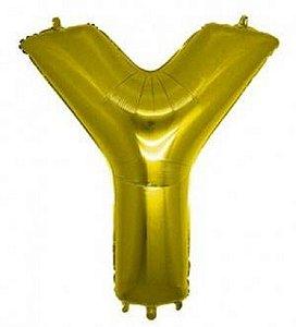 Balão Letra Y Metalizado Dourado - 30cm x 40cm