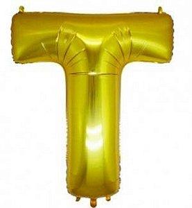 Balão Letra T Metalizado Dourado - 30cm x 40cm