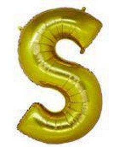 Balão Letra S Metalizado Dourado - 30cm x 40cm