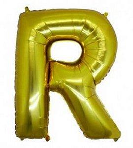 Balão Letra R Metalizado Dourado - 30cm x 40cm