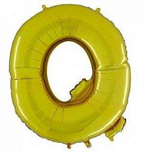 Balão Letra Q Metalizado Dourado - 30cm x 40cm