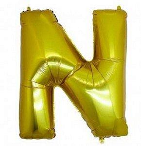 Balão Letra N Metalizado Dourado - 30cm x 40cm