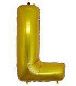Balão Letra L Metalizado Dourado - 30cm x 40cm