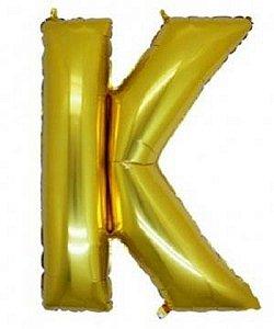 Balão Letra K Metalizado Dourado - 30cm x 40cm