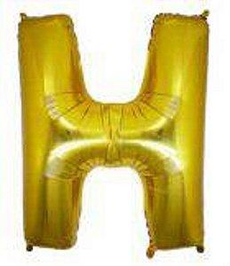 Balão Letra H Metalizado Dourado -  30cm x 40cm