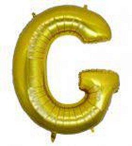 Balão Letra G Metalizado Dourado  -  30cm x 40cm
