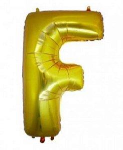 Balão Letra F Metalizado Dourado  -  30cm x 40cm