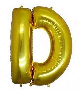 Balão Letra D Metalizado Dourado - 30cm x 40cm