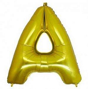 Balão Letra A Metalizado Dourado - 30cm x 40cm