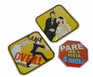 Placa Decorativa Média para Casamento - 3 unidades