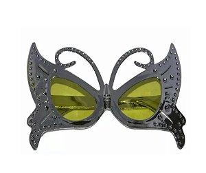 Óculos Borboleta Metalizado Prata