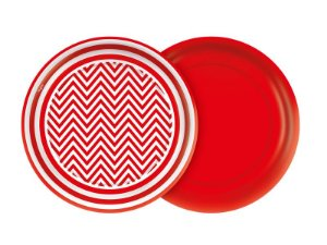 Prato 18cm Festa Colors Vermelho Chevron 8 Unidades