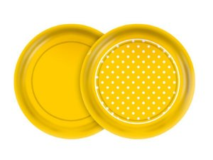 Prato 18cm Festa Colors Amarelo Poá 8 Unidades