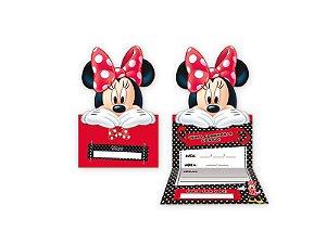 Convite Grande Red Minnie 8 Unidades